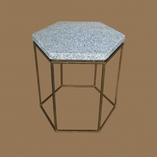 Crushed Glass White resin (Hex) side table on Gold frame