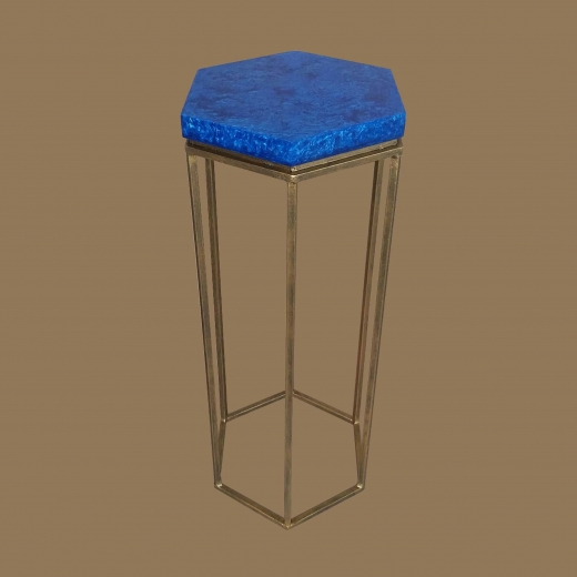 Faux Lapiz Lazulli (Hex) side table on Gold frame