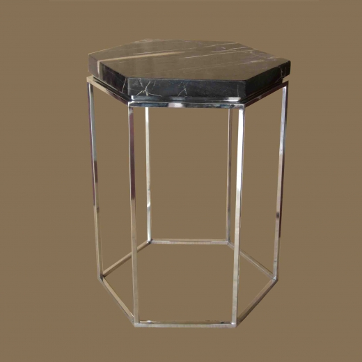 Side table hexagonal on Stainless Steel base
