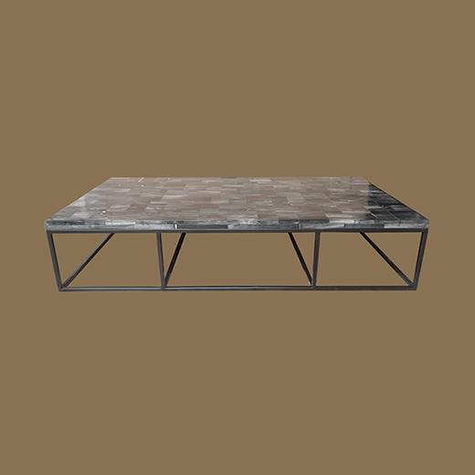 Mosaic Coffee Table On Powder Coated Iron Base